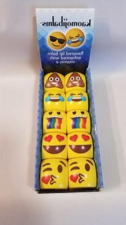 KAOMOJIBALMS Emoji Lip Balm Flavored Bulk Pack of 10 NEW Gre