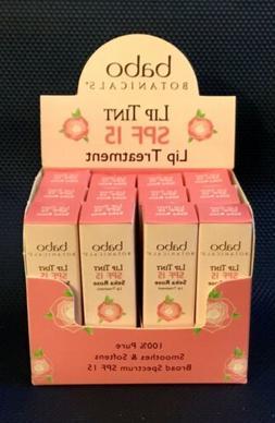 Babo Botanicals SPF 15 Lip Tint Conditioner, Seka Rose, 0.15