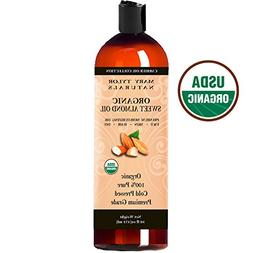 Organic Sweet Almond Oil 16 oz, USDA Certified, Cold Pressed