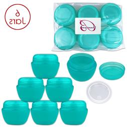 Beauticom 6 Pieces 50G/50ML TEAL Color Frosted Container Jar