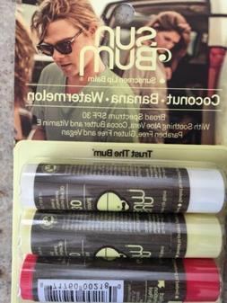 Sun Bum Three Pack SPF 30 Sunscreen Lip Balm Coconut, Banana