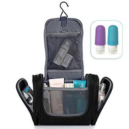 Premium Toiletry Bag + Silicone Bottles Set - Men & Women Wa