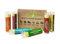 USDA Organic Lip Balm by Sky Organics  6 Pack Assorted Flavo
