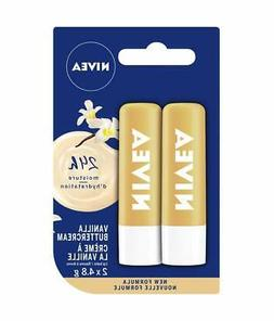 Nivea Vanilla Buttercream Lip Balm Sticks, 2ct, 4.8g