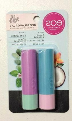 X2 Eos Lip Balm Sticks Beach Coconut, Vanilla, Salt & Eucaly