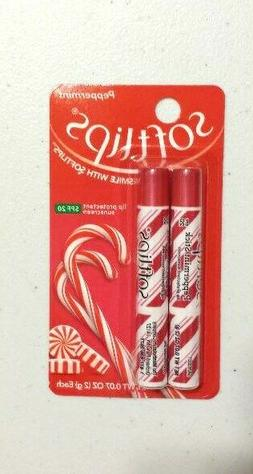 X2 Pack Softlips Holiday Lip Balm Peppermint Stick Flavor Li